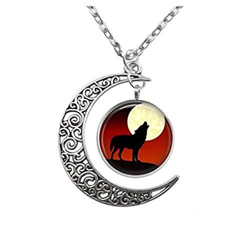 no see long time Colgante de Lobo y Luna Llena de Filigrana, Collar de la Luna de la Media Luna...
