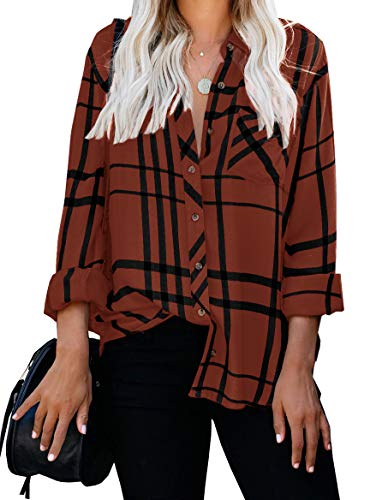 ZC&GF Women's Long Sleeve V-Neck Stripes Casual Blouses Pocket Button Down Shirt Tops (Large, Brown)