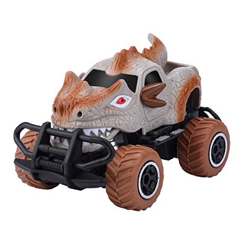 One76 Cartoon Remote Control Car,4 Channel Electric Off Road Climbing Vehicle RC Truck Toy Cars,1:43 Scale Dinosaur Car Toy for Age 4 and Above Boys Girls Best Gift