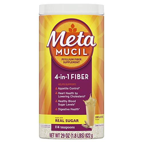 Metamucil Fiber, 4-in-1 Psyllium Fiber Supplement Powder with Coarse Real Sugar, Unflavored Drink, 114 Servings