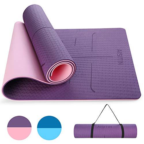 AISITIN Yogamatte Gymnastikmatte rutschfest Lila sportmatte Fitnessmatte aus hochwertigen TPE Übungsmatte für Yoga Pilates Kinderturnen etc mit Tragegurt und Tragetache 183 * 66 * 0.8cm