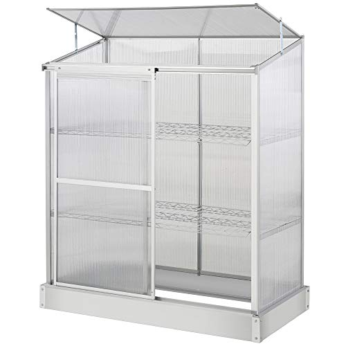 Outsunny 3 Tier Greenhouse Garden Outdoor Cold Frame Plant Flower Growth Transparent Polycarbonate Board Openable Roof Sliding Door w/Foundation 129.5L x 58W x 140H cm