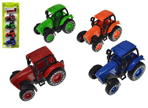 VENTURA TRADING Paquete de 4 Tractores Tractores agricolas Carros de Juguete vehículos agrícolas carros Juguete Coches de Carreras Juego Modelos de Autos