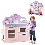 COSTWAY 2 in 1 Kinderküche und Restaurant, doppelseitiges Rollenspiel Set, Spielküche mit Herd, Ofen, Mikrowellenofen & Aufbewahrungsregalen, Kinderspielküche, Spielzeugküche für Kleinkinder