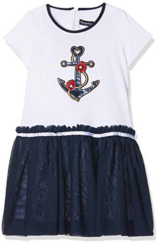 Conguitos Vestido Punto Niña, Niñas, (Blanco/Marino), 128 (Tamaño del Fabricante:8A)