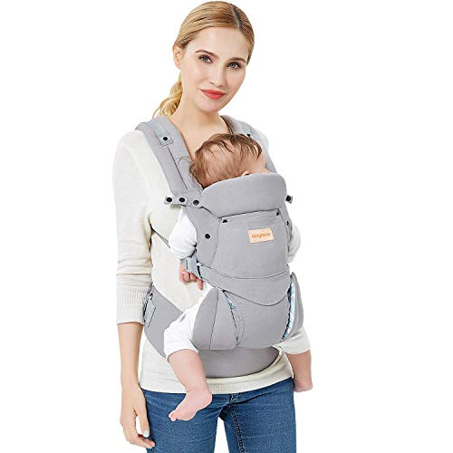 Fimghsoo Ergonomic Baby Carrier - All Carry Positions, Easy Breastfeeding, Fits for 3-36 Month Baby, Lightweight Breathable Baby Carriers Front and Back, Perfect Baby Shower Gifts (Gray)