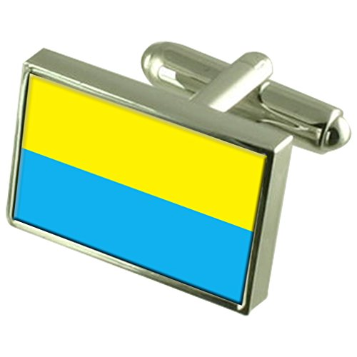 La città di Opole Polonia Sterling Silver bandiera gemelli incisi Box