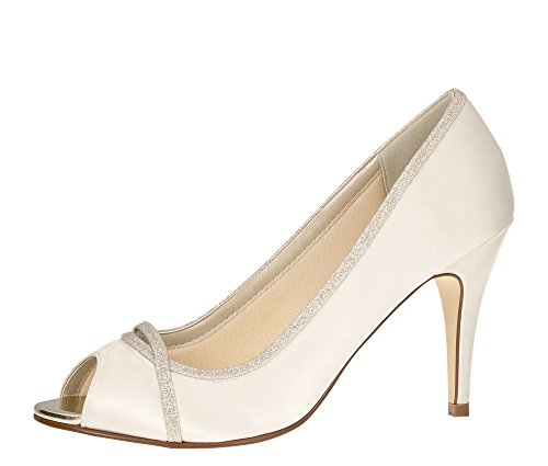 Rainbow Club Brautschuhe Chelsey - Pumps Peep Toe - Ivory Glitzer Satin - Gr 36.5 EU 3.5 UK