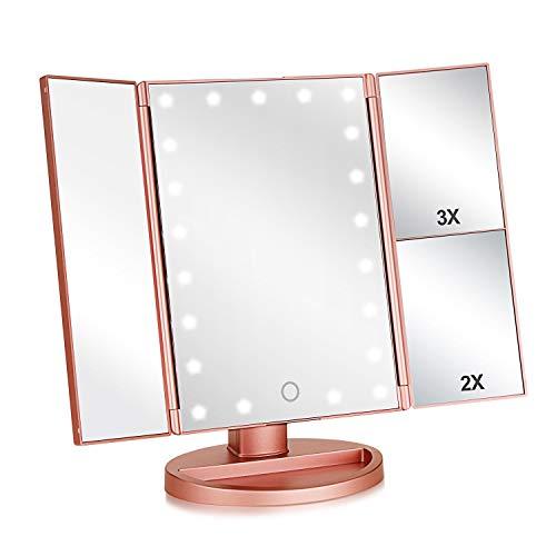 Cikuso Dreifachgefaltet Beleuchtet Vanity Makeup Spiegel für mit 3X/2X/1X Vergr??erung,21Leds Licht und Druck Bildschirm,180 Grad Freie Rotation Kosmetik Spiegel(Rose Gold)