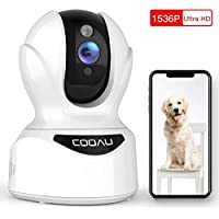 Cooau 1536P Baby Monitor 360 Indoor 3MP Pet Wi-Fi Camera