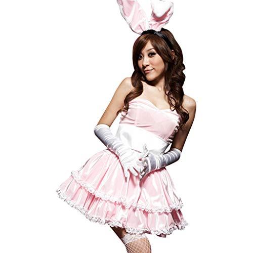Lazzboy Kostüme Damen Winter Weihnachtsfeier Cosplay Kaninchen Tänzerin Minikleid Set(M,Rosa)