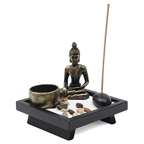 Buda zen portavelas, de piedra natural, para incienso de ratán