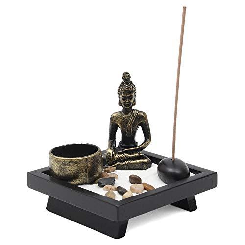 Giardino zen con portacandele e portaincenso ornamentale, con Buddha zen, in pietra naturale e rattan, set regalo