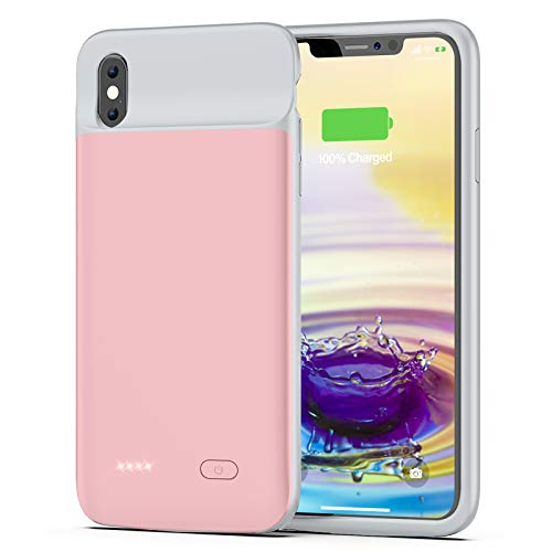 OMEETIE Battery Case for iPhone Xs Max, 5000mAh Slim Portable Rechargeable Charging Case Compatible with iPhone Xs Max(6.5 inch) Protective Charger Case(Pink)