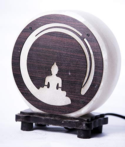 Buddha White Himalayan Salt Lamp Meditation 8.75 x 6 x 4 Inches Warm and Soothing Effect Wooden Lamp Base Air Purifier Crystal Lamp – Side Table Lamp, Night Lamp, Office Lamp, etc.