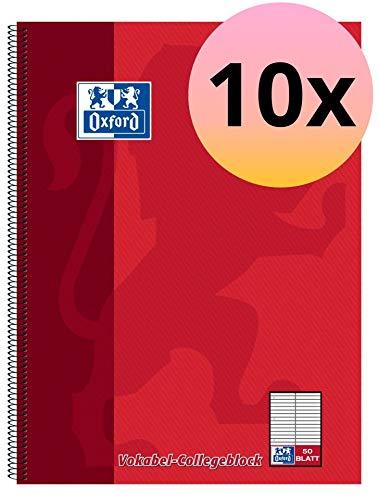 Oxford 100061259 Vokabel-Collegeblock Schule als 10er Pack im Format A4 mit 2 Spalten Vokabellineatur 50 Blatt gelocht und perforiert