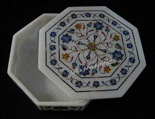 Joyero de mármol octagonal de 7 pulgadas Pietra Dura Art blanco caja de regalo para aniversario de boda