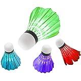 Yooyg 4 lanzadores de bádminton, con bolas de bádminton con luz LED, iluminación de bádminton para entrenamiento deportivo, para entrenamiento de pelota y gimnasio