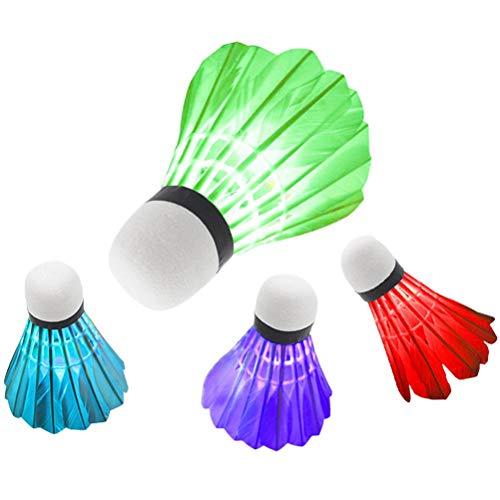 QUMocky, 4 volani da badminton con luce a LED, luce di notte scura a LED colorata piuma d'oca incandescente, palle da badminton per attività sportive indoor outdoor
