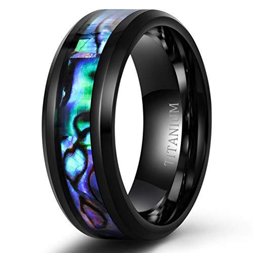 Tigrade Titanium Ring 6mm 8mm Blue Centre Groove Wedding Band Comfort Fit Matte for Men Women