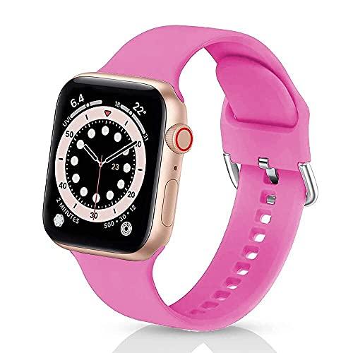 Correas de Silicona Compatible con iWatch 42mm 38mm 44mm 40mmm, Solo Loop Deportiva Straps Compatible con Apple Watch Series 6/5/4/3/SE, Correa para Band 42mm/44mm,Polvo de Barbie