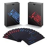 zidwzidwei Pokers, 2 Barajas de Cartas, Naipes Únicos de Plástico PVC Negro Resistente al Agua, Baraja de Cartas Premium Tamaño Estándar para Niños y Adultos