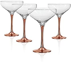 Artland Coppertino 10oz Cocktail Coupe Glasses - Set of 4 with Copper Plated Stems, Gift Boxed