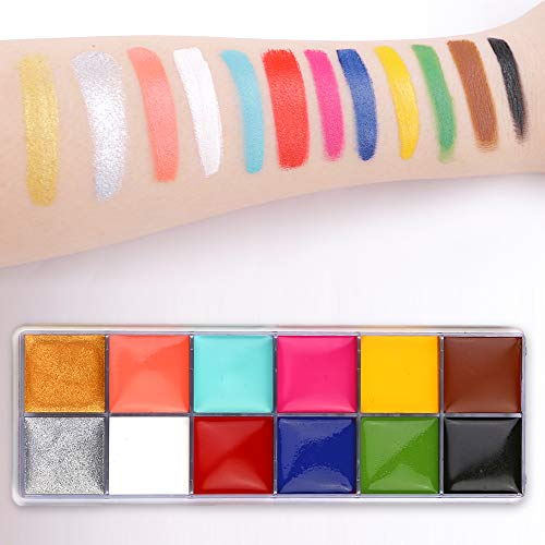 CCbeauty Professional Face Paint Oil 12 Colors Halloween Body Art Party Fancy Make Up with 6 Wooden Brushes,Deep