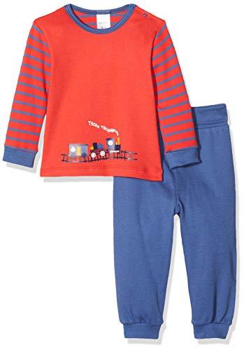 Schiesser Baby-Jungen Zug Anzug lang 2-teilig Zweiteiliger Schlafanzug, Rot (Rot 500), 62 (Herstellergröße: 062)