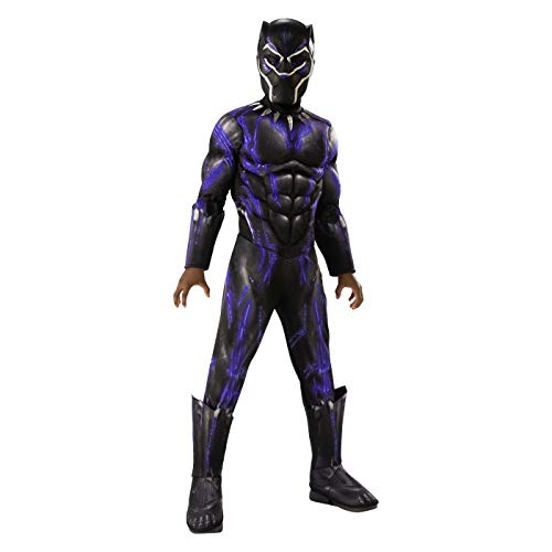 Marvel Rubies Black Panther Deluxe Muscle Halloween Costume Purple Includes Purple Muscle Chest Jumpsuit with Silver Accents, Boot Tops and mask. (M 8-10)