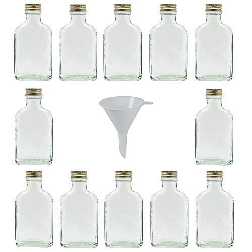 Viva Haushaltswaren - Set di 12 bottiglie in vetro, 100 ml da liquore, a imbuto