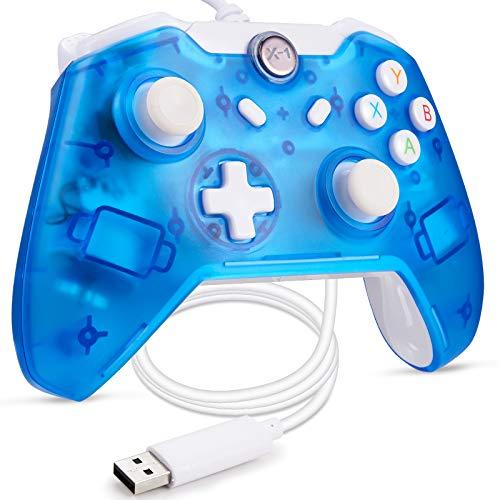 miadore Kabelgebundener USB Game Controller Kompatibel mit Xbox One/Xbox One S/PC Windows, Dual Vibration Joystick Gamepad (blau Leuchtend)