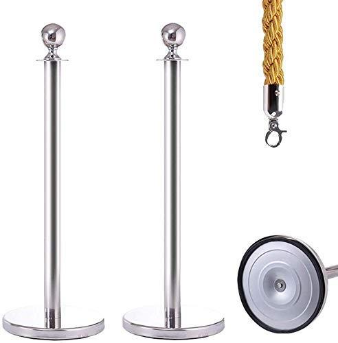 GAXQFEI Post Steany Post Gold Seil Barrieren Outdoorausstellung Halle Stabile Gummi Basis Tragen Resistent Edelstahl Wasserdicht,Silber-C,95 * 32Cm
