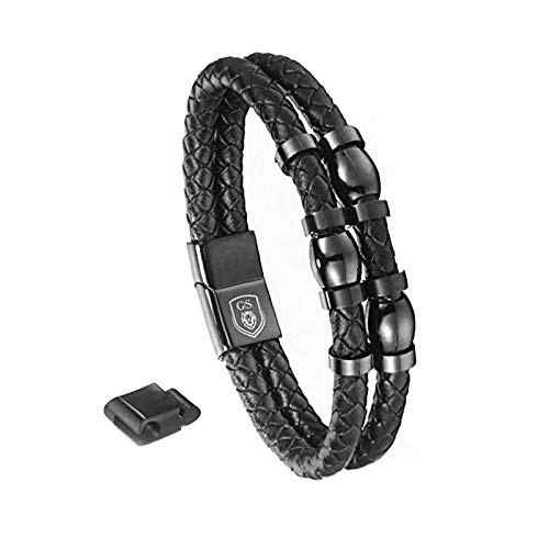 Pulsera de piel para hombre de Gentleman Sylt, 21 cm, para motoristas, surfero, color negro, trenzado, cierre magnético, caja de regalo de acero inoxidable