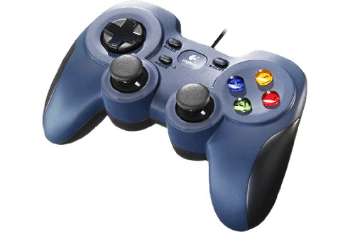 Logitech F310 Gamepad con Cable, Distribución Tipo Consola, Mando de Dirección 4 Conmutadores, Comodidad de Sujeción, Cable 1,8m, PC/Steam/AndroidTV , Versión Alemana, Azul/Gris