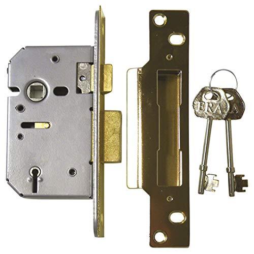 ERA BS 302-31 Sicherheitsschloss, Chubbschloss, 5 Sperrzuhaltungen, 76mm, Messing-Optik