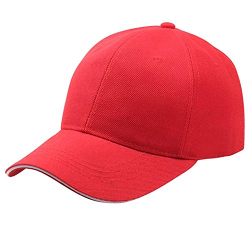 Baseball Kappe Unisex, Sunday Frauen Baseball Cap Snapback Hut Hip-Hop Einstellbar Outdoor Sports Pure Farbe Hüte (Rot)
