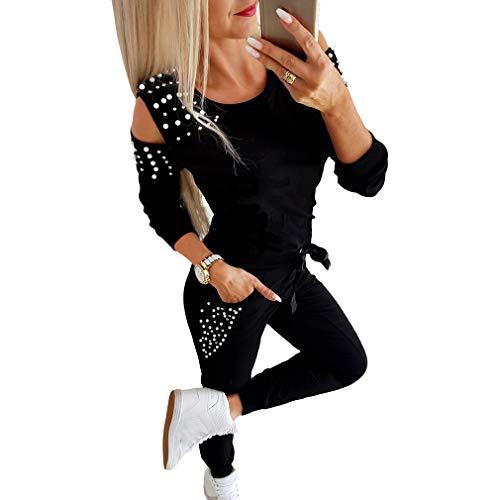 Femmes Survêtement Ensemble 2pcs Suit - Mode Manches Longues Sweat-Shirt avec Perlé Chaude Pullover Tops et Pantalons Sportswear pour Jogging Sports