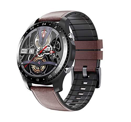 YDL Relojes Inteligentes Bluetooth Llamada De Voz Pulsera Impermeable Tasa Cardíaca Presión Arterial Temperatura Corporal En Tiempo Real Monitor De Deportes (Color : For MV60 Coffee Leather)