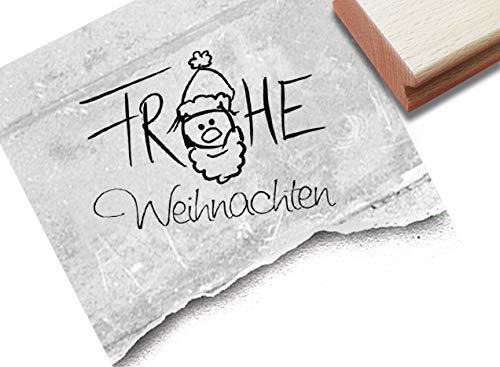 Stempel Weihnachtsstempel Frohe Weihnachten mit Weihnachtsmann - Textstempel Karten Geschenkanhänger Basteln Weihnachtsdeko Geschenk - zAcheR-fineT