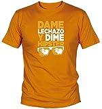 Camiseta Dame Lechazo y Dime Hipster Sonorama Aranda (L, Naranja)