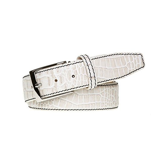Snow Italian Mock Croc Leather Belt