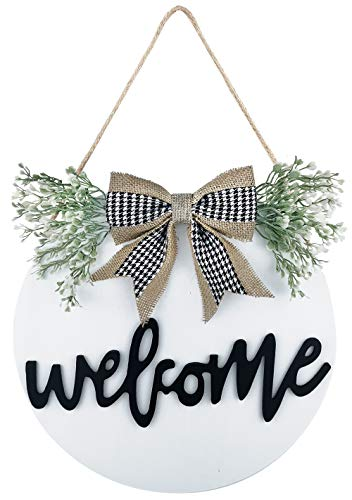 TIMECOSY Welcome Wreaths Front Door,Welcome Sign for Farmhouse, Rustic Wooden Door Hangers Front Porch Decor Outdoor Hanging Vertical Sign (White)
