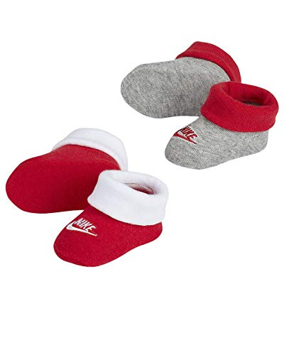 Nike Infant Baby Futura Booties (2 Pair) (University Red(LN0048-U10)/Grey, 0-6 Months)