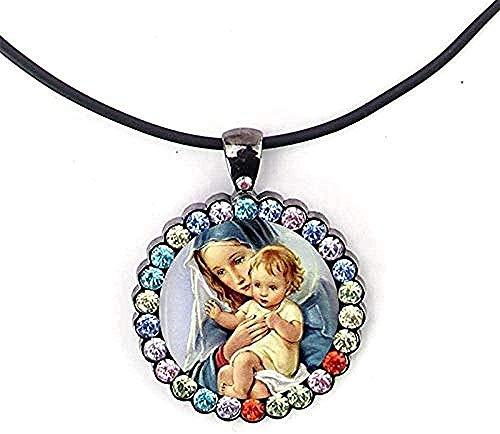 Liuqingzhou Co.,ltd Collar de la Virgen María, Collar de Cristal, Colgantes de la Madre del bebé, joyería de Las Mujeres cristianas, Colgantes, Collares