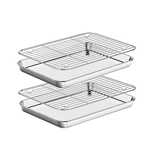 Baking Sheet with Rack Set [2 Pans + 2 Racks ] HKJ Chef Stainless Steel Cookie Sheets Baking Pan Tray with Cooling Rack for Cooking and Baking, Size 12.5 x 10 x 1 Inch, Nonstick & Dishwasher Safe