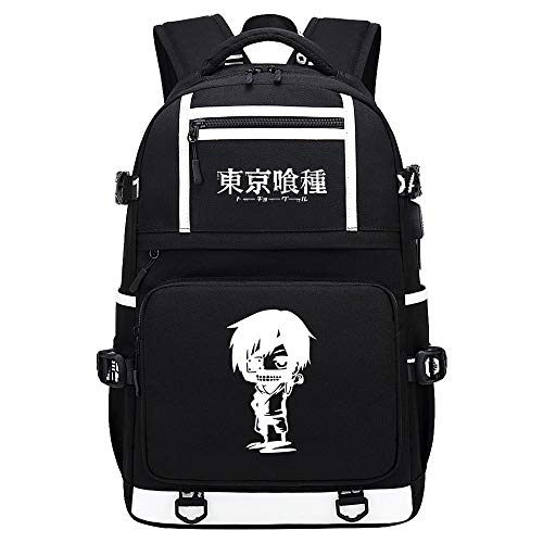 BOBD-DW Tokyo Ghoul Mochila para Portátil Mochila con Estilo Mochila Escolar Mochila Informal Bolsa para Portátil Hidrófugo Mochila De Anime USB De Caracteres Blancos 48X30X15CM