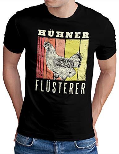 OM3® Hühnerflüsterer T-Shirt | Herren | Hühner Flüsterer Lustiges Huhn | Schwarz, L