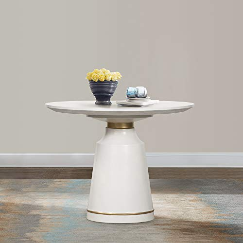 Armen Living Pinni White Concrete Round Dining Table with Bronze Painted Accent, 39'