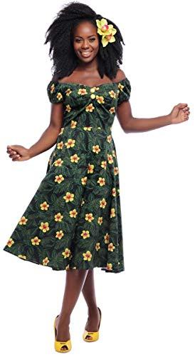 Collectif Damen Kleid Dolores Tropical Hibiscus Swing Dress Schwarz XL